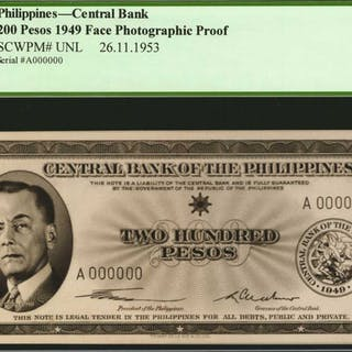 PHILIPPINES. Central Bank of the Philippines. 200 Pesos, ND (1949).