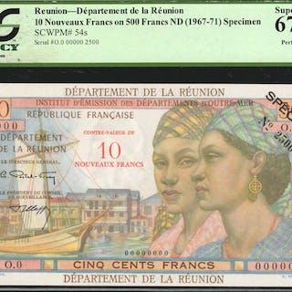 REUNION. Department de la Reunion. 10 Nouveaux Francs on 500 Francs
