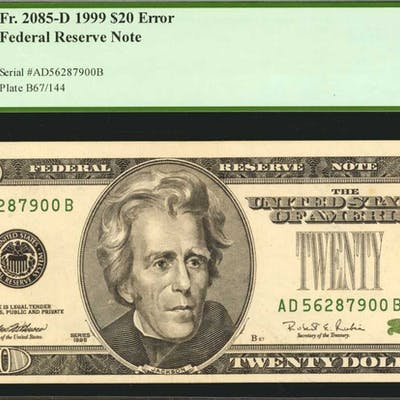 Fr  2085-D  1999 $20 Federal Reserve Note  Cleveland  PCGS