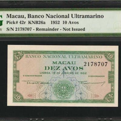 MACAU. Banco Nacional Ultramarino. 10 Avos, 1952. P-42r. Remainder.