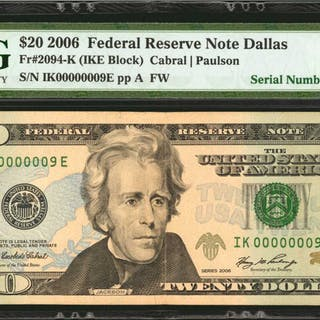 Fr. 2094-K. 2006 $20  Federal Reserve Note. Dallas. PMG Very Fine