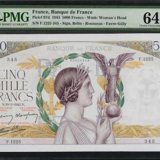 FRANCE. Banque de France. 5000 Francs, 1943. P-97d. PMG Choice Uncirculated