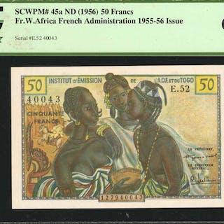 FRENCH WEST AFRICA. Inst. d'Emission de L'A.O.F Togo. 50 Francs, ND