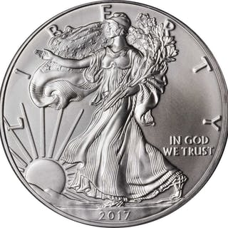 Complete Set of 2017-Dated Silver Eagles. First Day of Issue. Set