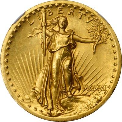 MCMVII (1907) Saint-Gaudens Double Eagle. High Relief. Wire Rim. Proof-64+