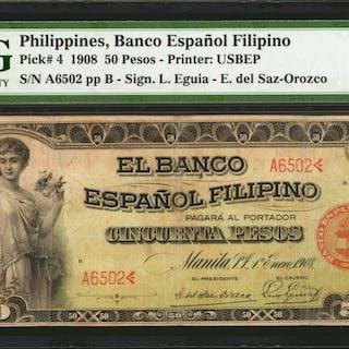 PHILIPPINES. Banco Espanol Filipino. 50 Pesos, 1908. P-4. PMG Very Fine 25.
