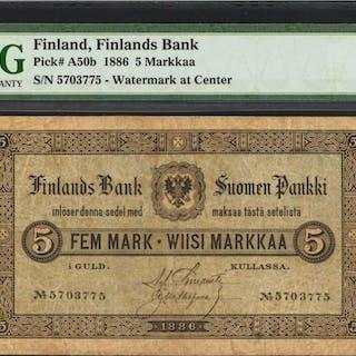 FINLAND. Finlands Bank. 5 Markkaa, 1886. P-A50b. PMG Very Fine 20