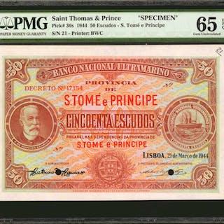SAINT THOMAS & PRINCE. Banco Nacional Ultramarino. 50 Escudos, 1944.
