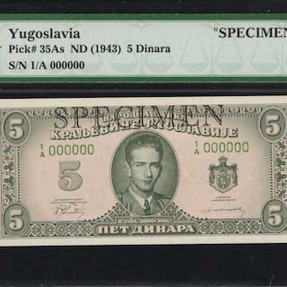 YUGOSLAVIA. Narodna Banka Kraljevine Jugoslavije. 5 Dinara, ND (1943).