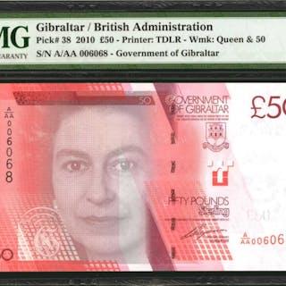 GIBRALTAR. Government of Gibraltar. 50 Pounds, 2010. P-38. PMG Gem