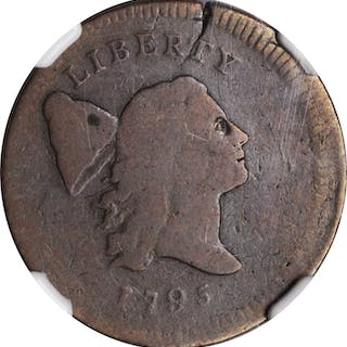 1795 Liberty Cap Half Cent. Plain Edge, No Pole--Cracked Planchet--Good-6