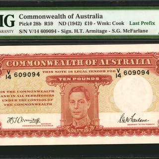 AUSTRALIA. Commonwealth Bank of Australia. 100 Pounds, ND (1942).