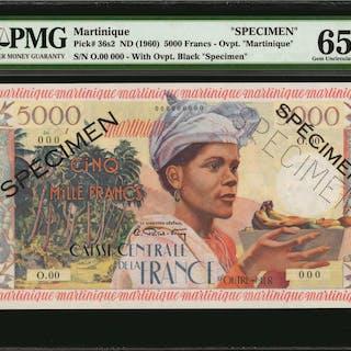 MARTINIQUE. Caisse Centrale de la France d'Outre-Mer. 5000 Francs