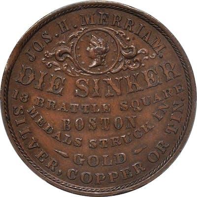 Massachusetts--Boston. 1859 Joseph H. Merriam. Copper. 32 mm. Rulau
