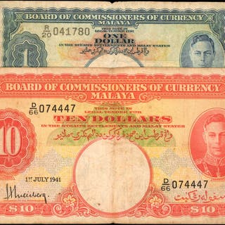 MALAYA. Board of Commissioners of Currency. 1 & 10 Dollars, 1941.