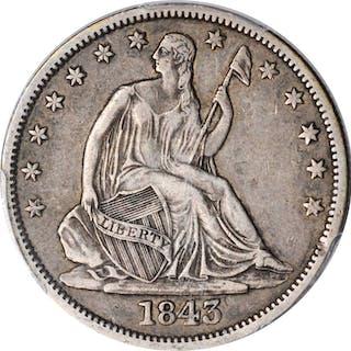 1843-O Liberty Seated Half Dollar. EF-40 (PCGS).