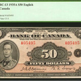 CANADA. Bank of Canada. 50 Dollars, 1935. BC-13. English. PCGS Currency