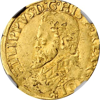 SPANISH NETHERLANDS. Holland. 1/2 Real D'Or, ND (1555-81). Philip