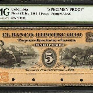 COLOMBIA. Banco Hipotecario. 5 Pesos. October 1, 1881. P-S511s. Specimen.
