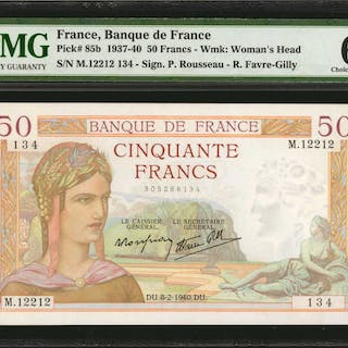 FRANCE. Banque de France. 50 Francs, 1937-40. P-85b. Consecutive.