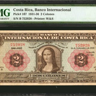 COSTA RICA. Banco Internacional. 2 Colones, 1931-36. P-167. PMG Very Fine 30.