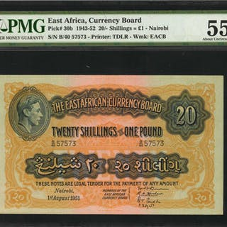 EAST AFRICA. East Africa Currency Board. 20 Shillings, 1943-52. P-30b.