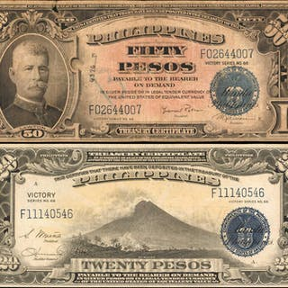 PHILIPPINES. Philippine Islands Treasury Certificates. 20 & 50 Pesos