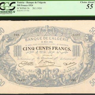 TUNISIA. Banque de l'Algerie. 500 Francs, 1924. P-5b. PCGS Currency