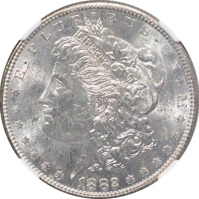 1882-S Morgan Silver Dollar. MS-63 (NGC).