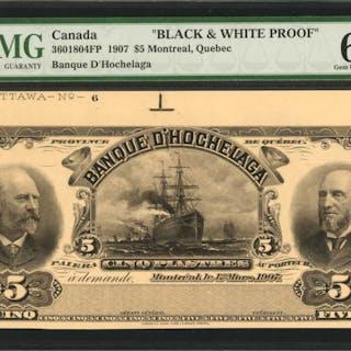 CANADA. Banque D'Hochelaga. 5 Dollars, 1907. CH #3601804FP. Black