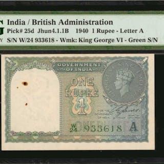 INDIA. British Administration. 1 Rupee, 1940. P-25d. Consecutive.
