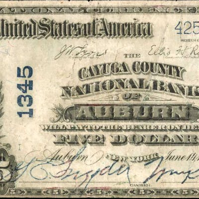 Auburn, New York. 1902 Plain Back $5 Fr. 598. The Cayuga County NB.