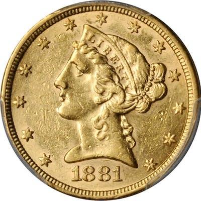 1881 Liberty Head Half Eagle. AU-55 (PCGS).