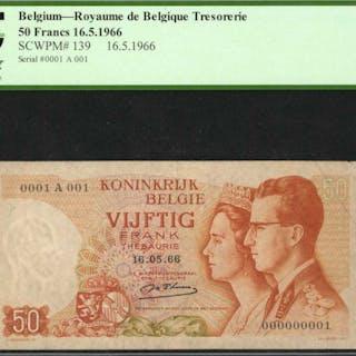 BELGIUM. Royaume de Belgique Tresorerie. 50 Francs, 1966. P-139. PCGS