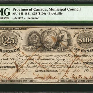 CANADA. Province of Canada, Municipal Council. 100 Dollars, 1851.