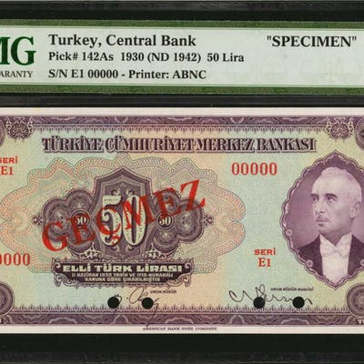 TURKEY. Central Bank of Turkey. 50 Lira, 1930. P-142As. Specimen.