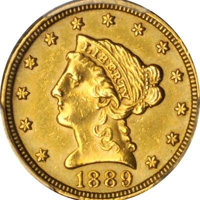 1889 Liberty Head Quarter Eagle. AU Details--Polished (PCGS).