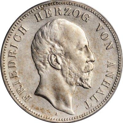 GERMANY. Anhalt-Dessau. 5 Mark, 1896-A. Berlin Mint. Ferderick I.
