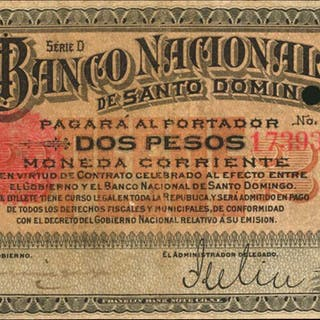 DOMINICAN REPUBLIC. Banco Nacional de Santo Domingo. 2 Pesos, ND (1898).
