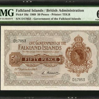 FALKLAND ISLANDS. Government of the Falkland Islands. 50 Pence, 1969.