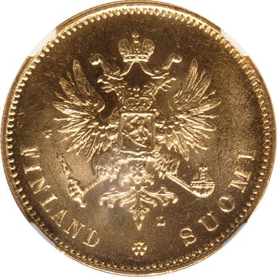 FINLAND. 20 Markkaa, 1911-L. Helsinki Mint. NGC MS-65.