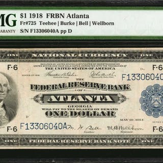 Fr. 725. 1918 $1  Federal Reserve Bank Note. Atlanta. PMG Very Fine 25.