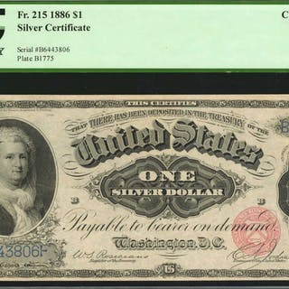 Fr. 215. 1886 $1  Silver Certificate. PCGS Currency Choice About New 55.
