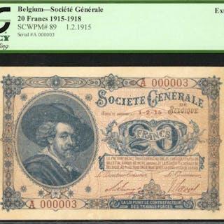 BELGIUM. Societe Generale de Belgique. 20 Francs, 1915-1918. P-89.
