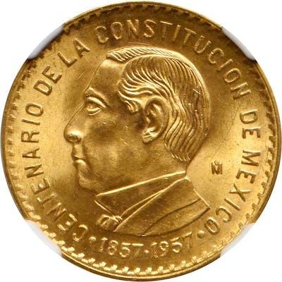 MEXICO. Constitution Centennial Medallic Gold 10 Pesos, 1957-Mo. Mexico
