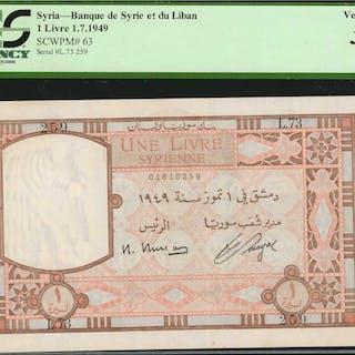 SYRIA. Banque de Syrie et du Liban. 1 Livre, 1949. P-63. PCGS Currency