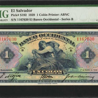 EL SALVADOR. Banco Occidental. 1 Colon, 1929. P-S192. PMG Choice Uncirculated