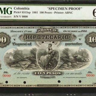 COLOMBIA. Banco Hipotecario. 100 Pesos. October 1, 1881. P-S515s.