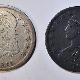 1833 & 34 BUST HALF DOLLARS  VG  SOME PROBLEMS