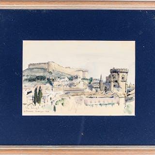 """John Torcapel (1881-1965), """"Villeneuve-les-Avignons"""", aquarelle et"""